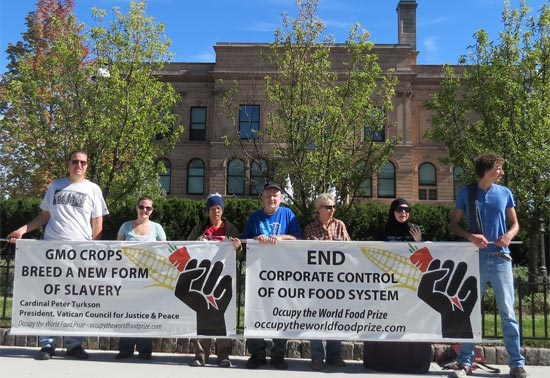 Protests marked the World Food Prize
