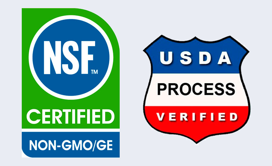 New non-GMO certification logos NSF and CCOF