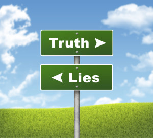 Crossroads road sign. Pointer to the right Truth, but Lies left. Choice concept