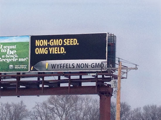 Wyffels Hybrids advertises for its non-GMO corn seed on a billboard in Iowa