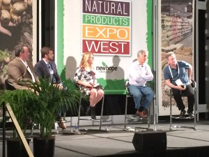 Speakers at GMO labeling panel session at Natural Products Expo West, from left: Jim Leahy, Colin O'Neil, Melody Meyer, Gary Hirshberg, and Ken Cook