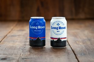 Cans of Long Root Ale made with Kernza