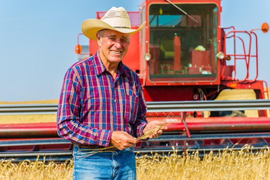 Farmer in front of tractor in field