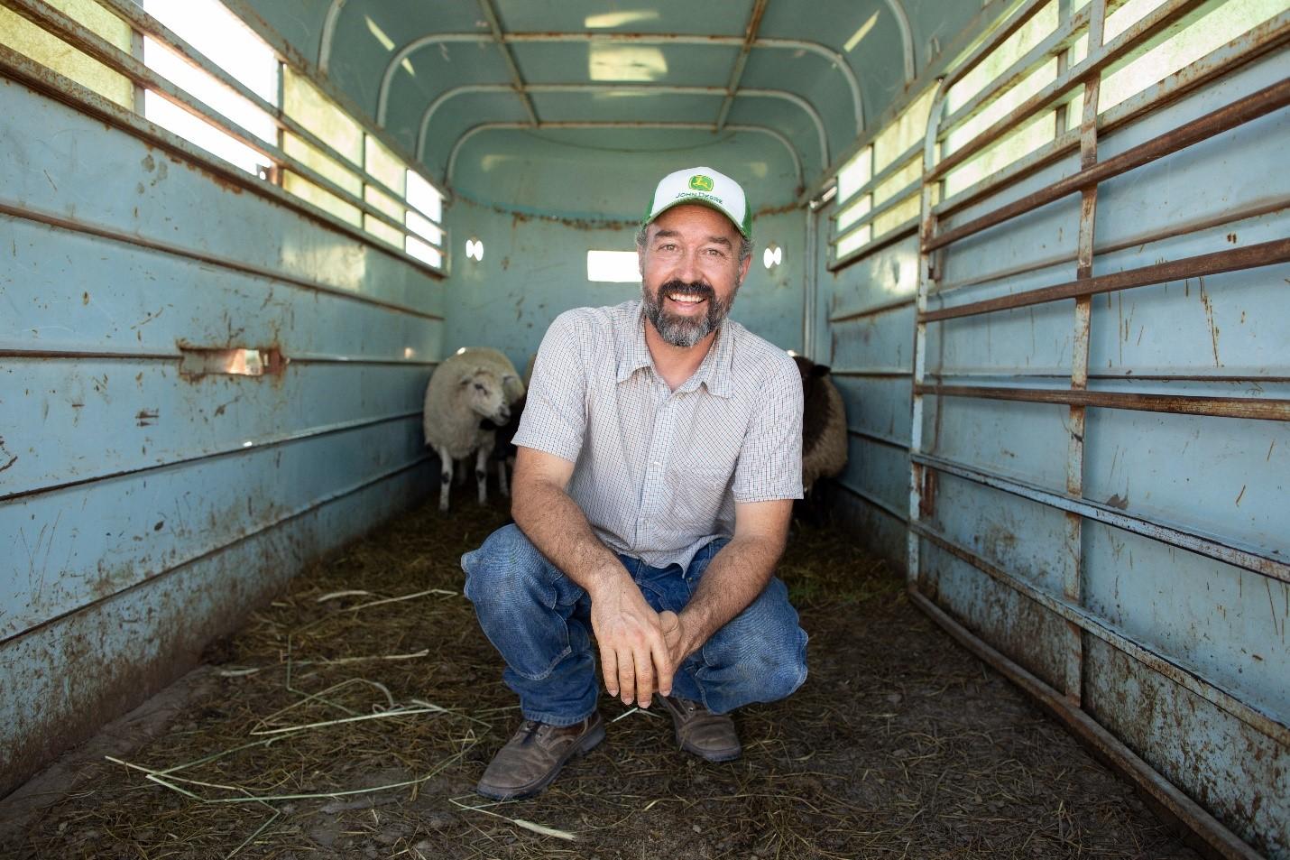Nathanael Siemens in cattle trailer