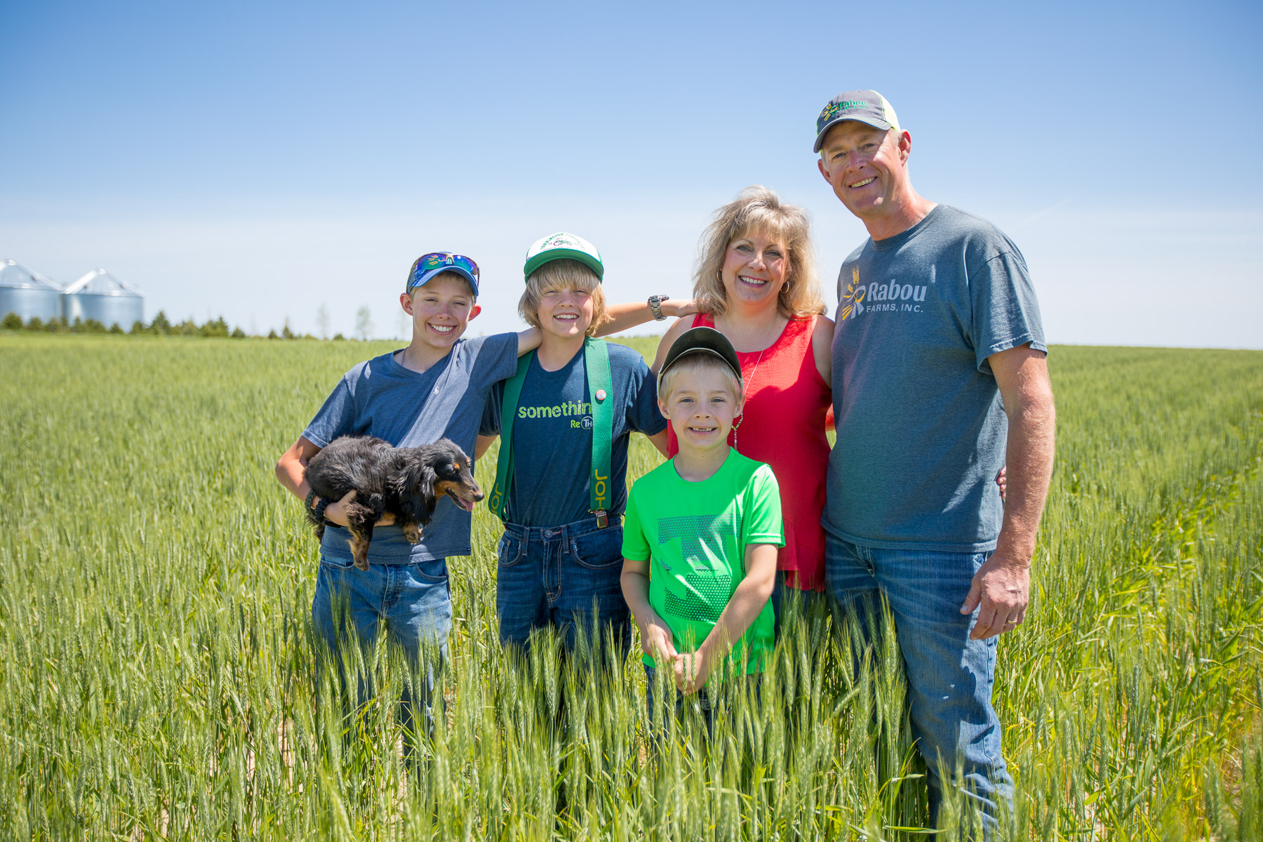 The Rabou Family Organic Wheat Growers in field