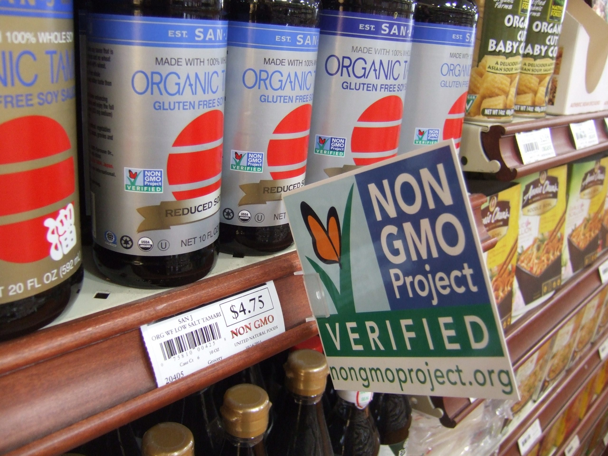 Non-GMO Project soy sauce on shelf