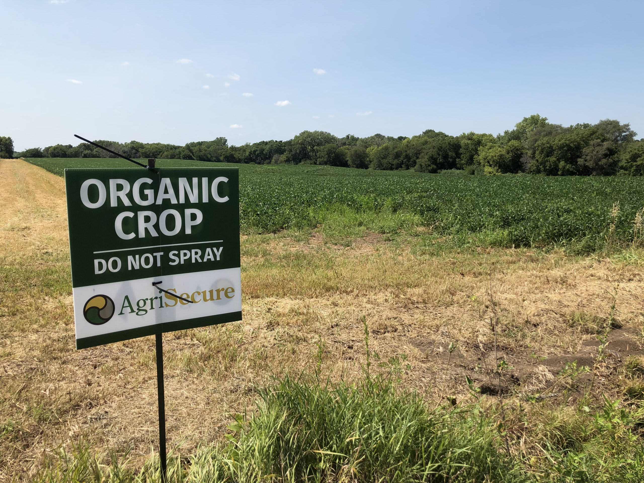AgriSecure Organic Crop sign in field