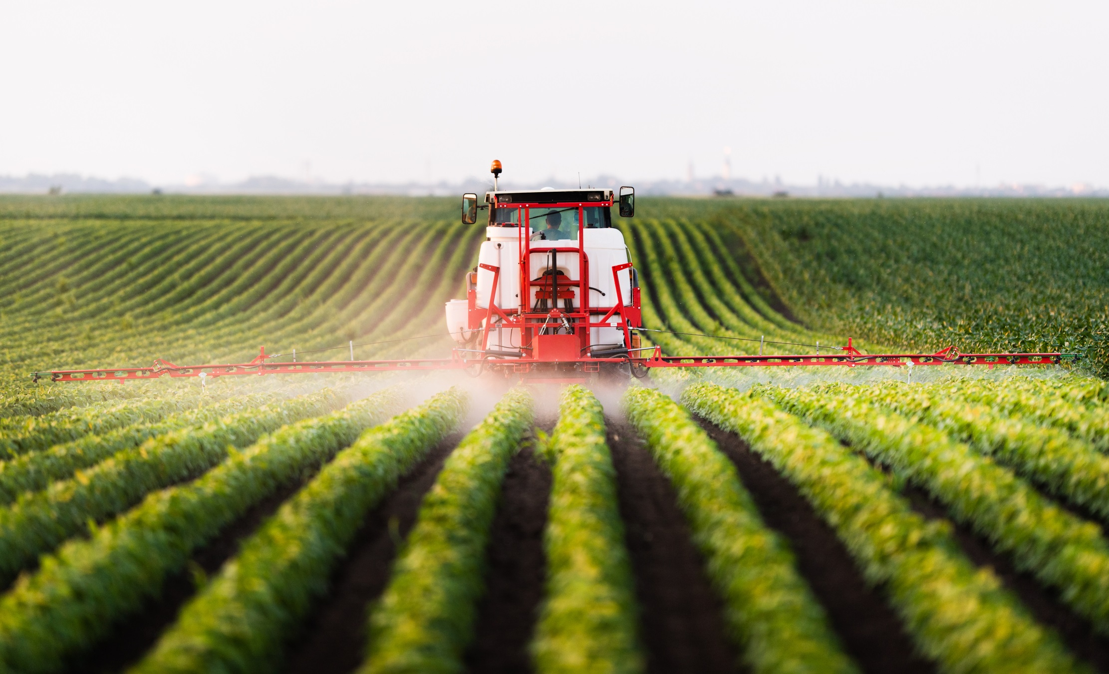 Photo of tractor spraying pesticides