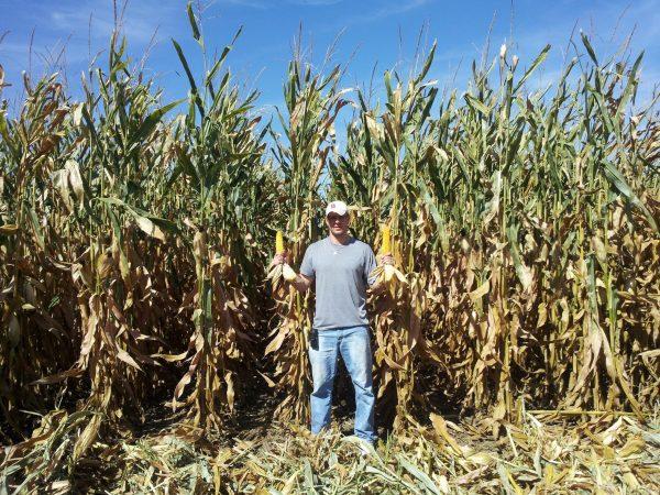 Graham Christensen shows his non-GMO corn
